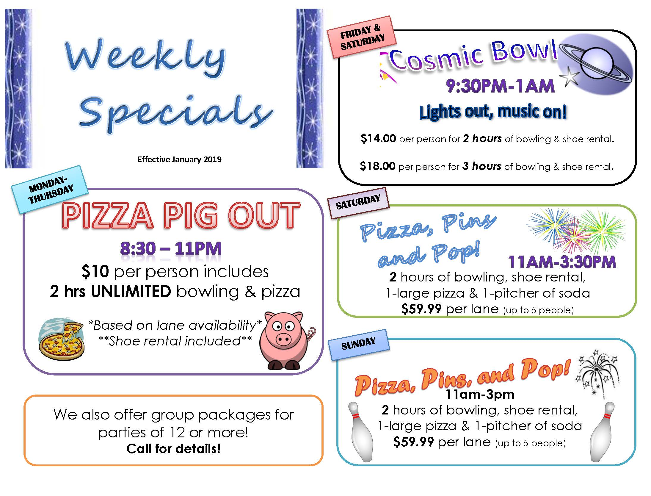 Specials At East Greenbush Bowling Center